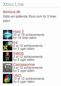 Xbox360 Gamercard widget